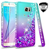 Galaxy Note 5 Case with Tempered Glass Screen Protector [2 Pack] for Girls Women,LeYi Bling Sparkle Diamond Liquid Quicksand Flowing TPU Protective Phone Case for Samsung Galaxy Note 5 Teal/Purple