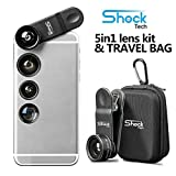 Shock Tech 5 in 1 Clip On Cell Phone HD Camera Lens Kit for iPhone 8 7 6/6S 6S Plus, Samsung Galaxy S9 S8 S7 S6/S6 Edge, Most Smartphones and Tablets | Telephoto, Fish Eye, Wide Angle, CPL, Macro