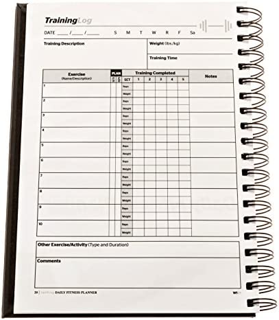 SaltWrap The Daily Fitness Planner - Gym Workout Log and Food Journal - with Daily and Weekly Pages, Goal Tracking Templates, Spiral-Bound, 7 x 10 inches 9