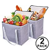 2 Insulated Reusable Grocery Shopping Bags, Xl, Large Soft Picnic/Lunch Cooler Bags Zipper Zippered Top