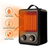 Portable Space Heater,1500W Fast Heat Ceramic Space Heater for Office Small Room Desk, Electric Space Heater with Multi Thermostat, Overheat & Tip-Over Protection, Hot Cool Fan Heater for Indoor Use