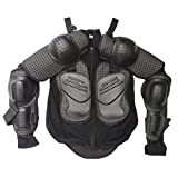 TDPRO Kids Full Body Armor Protective Jacket | Children Breast Chest Spine Protector Motorcycle Motocross Dirt Bike Racing Skiing Skating Sports ATV Safety Gear Guard Black (XS)