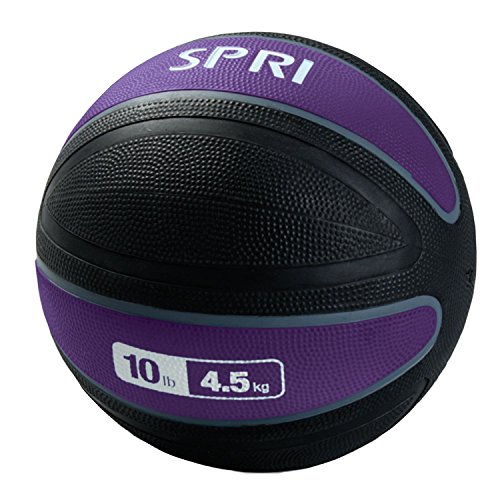 SPRI Xerball Medicine Ball Thick Walled Durable Construction with Textured Surface, Purple, 10-Pound