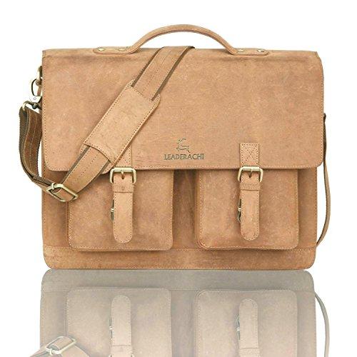 Leaderachi-100% Genuine Hunter Leather Laptop Briefcase Bag [Veneto] Summer Sale Special