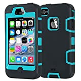 iPhone 4 Case,iPhone 4S Case,Shockproof Heavy Duty Combo Hybrid Defender High Impact Body Rugged Hard PC & Silicone Case Protective Cover For Apple iPhone 4 4S (Black Aqua)
