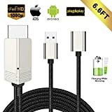 Compatible with iPhone iPad Android Phones MHL to HDMI Cable, WEILIANTE 6.6ft 1080P HD Digital AV Adapter for iPhone XS/X/XR/8/7/6 Plus iPad Samsung Huawei to TV/Projector/Monitor, Plug and Play