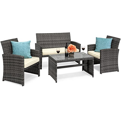Best Choice Products 4-Piece Wicker Patio Furniture Set w/ Tempered Glass, 3 Sofas, Table, Cushioned Seats - Gray