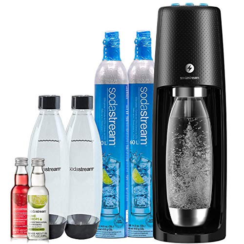 SodaStream Fizzi One Touch Sparkling Water Machine Bundle (Black) with CO2, BPA free Bottles, and 0 Calorie Fruit Drops Flavors