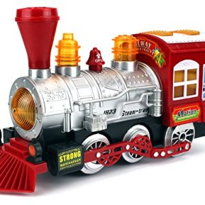 Velocity Toys Steam Train Locomotive Engine Car Bubble Blowing Bump & Go Battery Operated Toy Train w/ Lights & Sounds 51cxac59pTL