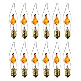 Sunlite 01506-SU Petite Chandelier Flicker Flame Light Bulb Candelabra Base E12, Clear, 12 Pack