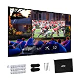 Projector Screen, Upgraded 120 inch 4K 16:9 HD Portable Projector Screen, Premium Indoor Outdoor Movie Screen Anti-Crease Projection Screen for Home Theater Backyard Movie Office Presentation.