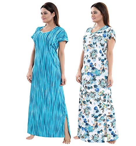 TUCUTE Women Beautiful Print with Invisible Zip + Floral Print Feeding/Maternity/Nursing Nighty/Night Gown/Night Dress/Nightwear (Free Size) (Pack of 2 Pcs) 4