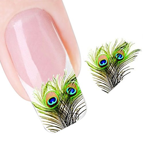Wensltd Peacock Feather Nail Tip Art Water Transfers Sticker