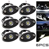 LEDMIRCY LED Rock Lights White Kit for JEEP Off Road Truck Auto Car Boat ATV SUV Waterproof High Power Underbody Glow Neon Trail Rig Lights Underglow Lights Shockproof(Pack of 6,White)