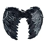 PGXT Feather Angel Wings Christmas Halloween Fancy Dress Costume, Black, Size 6545Cm