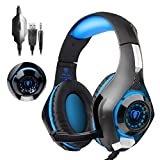 PS4 Headset |Playstation 4 Gaming Headset Mfeel PS4 Gaming Headset| Gaming Headset|Gaming Headphones with Microphone Volume Control LED Lights for PC, Laptop,Phone(Red)