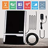 ANTV Amplified Radio Antenna, 50 Miles Indoor FM/AM Antenna for Stereo Radio Audio Signals RF Broadcast Receiver Tuner, 6ft FM& 6ft AM Coaxial Cable, Stereo Antenna with U Sharp Stand