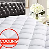 SOPAT Back to School Dorm Essential Twin Mattress Pad - CoolingPillow Top Plush Mattress Topper Reversible Quilted Fitted Mattress Cover with 8-21'Deep Pocket for Summer