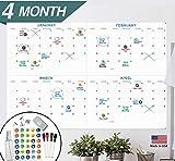 X Large Dry Erase Wall Calendar - 24'x 36' 4 Month Premium Giant Oversized Undated Erasable Deadline Task Calendar for 2020 - Jumbo Monthly Task Organizer Planner for Home, Business & Dorm Room