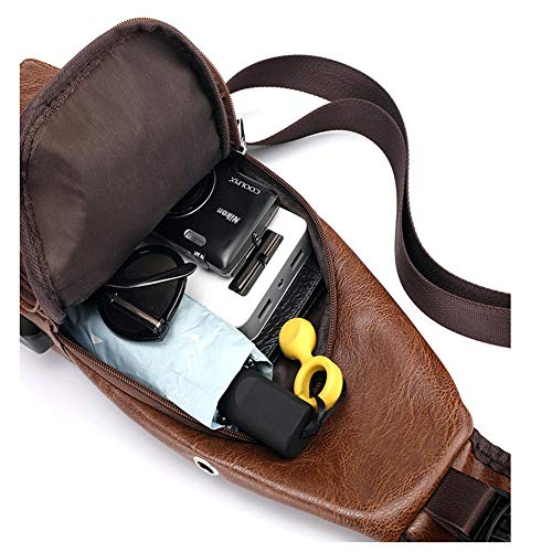 Men Shoulder Crossbody Sling Bag, PU Leather Chest Backpacks Crossbody Daypacks with USB Charging Port for Outdoor Activities (Light Brown) 20 Fashion Online Shop gifts for her gifts for him womens full figure