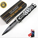 Tac-Force Silver Skull Punisher Spring ASSISTEDed Spearhead Folding Sharp KNIFE Combat Tactical Knife + eBOOK by Moon Knives