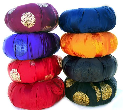 Zen Zafu Sitting or Meditation Cushion with Silk Brocade Cover, Red