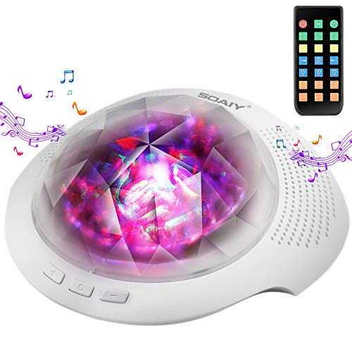 SOAIY Aurora Night Light Projector and Baby Sleeping White Noise Sound Machine with Bluetooth 4.1 for Baby, Kids and Adults with Timer, Remote, 6 Sounds,7 Lighting Modes,Volume and Brightness Adjust
