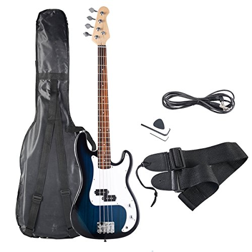 Safstar Electric Bass Guitar Full Size 4 Strings with Amp Cord Strap Bag Package for Starter Beginners (Blue)