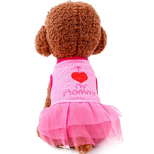 SIMPLEST LIFE Fashion Sweet Puppy Apparel Clothes Cute Heart Pattern Dog Doggie Skirt Dress 1