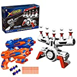 Electric Shooting Targets, Hover Shooting Target Compatible with Nerf Targets with 2 Pcs Blaster Guns, Air Powered Refill Darts, 60 Pcs Refill Foam Darts and 2 Pcs Wrist Band for Boys or Girls