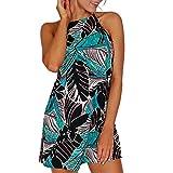Sunhusing Summer Ladies Stylish Bohemian Beach Print Sleeveless Tank Dress Leisure O-Neck Vest Dress Green