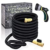 """TheFitLife Flexible and Expandable Garden Hose - Strongest Triple Latex Core with 3/4"""" Solid Brass Fittings Free 8 Function Spray Nozzle, Easy Storage Kink Free Water Hose (100 FT)"""