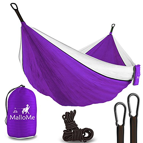Double Portable Camping Hammock - Parachute Lightweight Nylon with Ropes or Hammok Tree Straps Set- 2 Person Equipment Kids Accessories Max 1000 lbs Breaking Capacity - Free 2 Carabiners