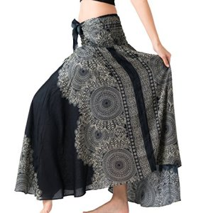 Bangkokpants Women's Long Hippie Bohemian Skirt Gypsy Dress Boho Clothes Flowers One Size Fits Asymmetric Hem Design 3 Fashion Online Shop Gifts for her Gifts for him womens full figure