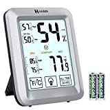 Habor Hygrometer Indoor Thermometer with Jumbo Touchscreen and Backlight, Room Thermometer Humidity Gauge Indicator for Home Office Greenhouse Cellar (4.3 X 3.3 Inch)