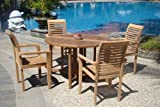 Grade-A Teak Wood luxurious 5 pc Dining Set : 48' Round Table and 4 Stacking Sam Arm Chairs #TSDSMS1
