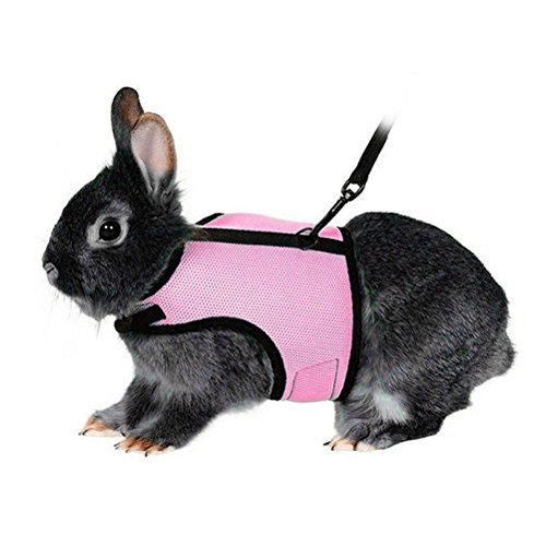 UEETEK Soft Harness with Lead for Rabbits Bunny Elastic Length 47 inch - Size L( Pink ) 1