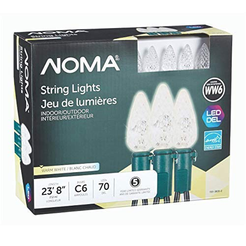NOMA Holiday Christmas Lights | C6 LED Classic White Bulbs | Outdoor & Indoor | 70 Light Set | 23.8 Foot Strand | 5 Year Warranty