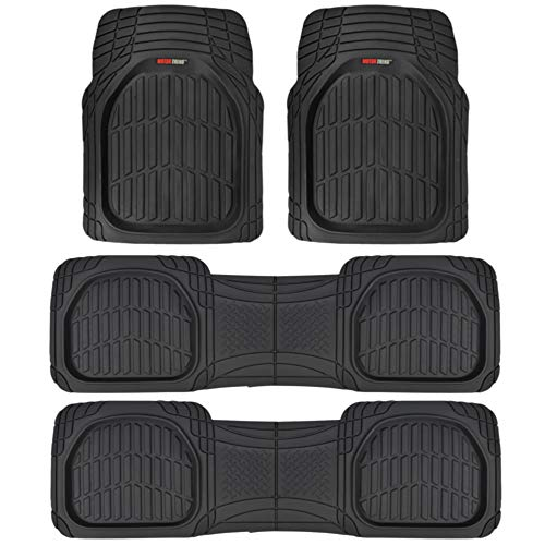 Motor Trend MT-923-920 FlexTough Contour Liners-Deep Dish Heavy Duty Rubber Floor Mats for 3 Row Car SUV Truck & Van-All Weather Protection (Black), 3 Pack