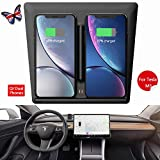 Tesla Model 3 Wireless Charger, Dual Phone & USB Qi Fast Wireless Charging Car Accessories with USB Splitter Cable for 2017 2018 2019 Tesla M3 Dock Center [Upgraded]