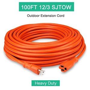 Outdoor Extension Cord 100ft 12/3C, Allsmartlife Vinyl Heavy Duty Outdoor/Indoor Power Extension Cable 100′ 12 Gauge – 15A 125V 1875Watt SJTOW (Orange)