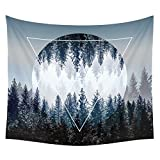 Moon Tapestry Wall Tapestry Wall Hanging Tapestries Sunset Forest Tapestry Ocean Mountains Tapestry Art Nature Tapestry for Men Home Dorm Decor 82 x 59 Inches