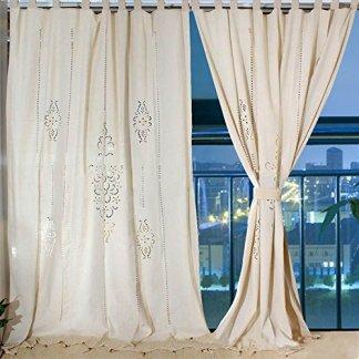 Aparty4u Grandi Pannelli Camera da Letto Tende in Lino, Cotone Floreale Crochet Nastro Top Tende oscuranti per finestre 259,1x 182,9cm
