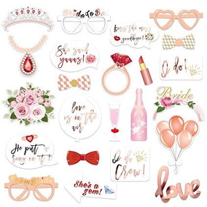 Konsait-EVJF-Mariage-photobooth-kit-23Count-Brillants-Or-Rose-Team-Bride-Accessoire-Photo-Booth-Masquerade-avec-Bois-Bton-pour-Dcoration-Mariage-Enterrement-de-Vie-de-Jeune-Fille