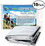 Zenwells Emergency Mylar Thermal Blanket Bulk (10 Pack) - Solar Blankets for Maximum Protection - Best for Your Earthquake Survival Kit, Outdoors, Camping, Hiking, Marathons or First Aid