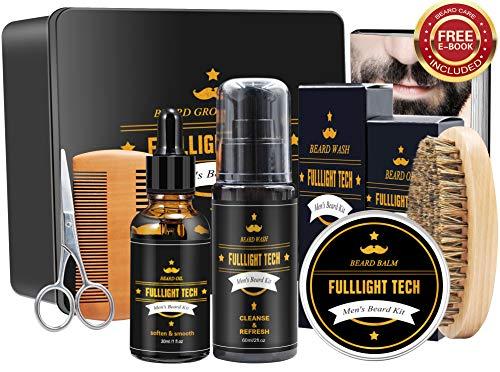 Ultimate Beard Grooming & Growth Kit Gifts for Men/Dad/Husband/Him in Metal Gift Box with Beard Shampoo,Beard Oil Conditioner,Beard Balm,Beard Brush,Comb,Mustache Scissors (Beard Grooming Kit)
