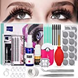 Eyelash Extension Kit, TopDirect Professional False Lashes Eyelashes Extension Practice Set Tools Lash Starter Kit Eyelash Grafting Training Tool for Makeup Practice Eye Lashes Graft