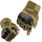 Fuyuanda Half Finger Outdoor Gloves Hard Knuckles Tactical Glove for Shooting, Military, Hunting, Driving, Paintball, Cycling, Airsoft, Army, Sporting Motorcycle Glove Coyote Medium