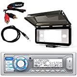 ClarionMarine Audio Single DIN BLUETOOTH/USB/MP3/WMA Bluetooth Stereo Receiver, Radio Protective Cover, AM/FM Antenna