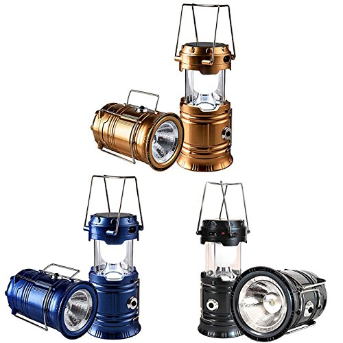 SeddyTech Solar Powered Lantern Flashlight, Rechargeable Camping Lantern Led Collapsible, Bright Lights for Emergency, Hurricane, Power Outage Show Pictures